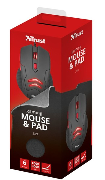 TRUST ZIVA GAMING MOUSE & MOUSEPAD